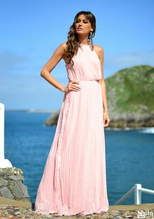 66fde48084ade9 Pink Sleeveless Halter Pleated Maxi Dress -SheIn(Sheinside)