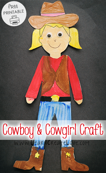Cowboy and Cowgirl Printable Craft | LearnCreateLove.com #cowboysandcowgirls
