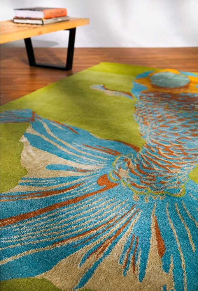 Whole Baby Fish Contemporary Fl Asian Area Rugs Collection Emma Gardner Design Modern Goodweave Hand Tufted