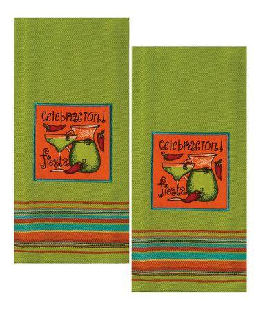 Look at this #zulilyfind! Green Fiesta Dish Towel - Set of Two #zulilyfinds