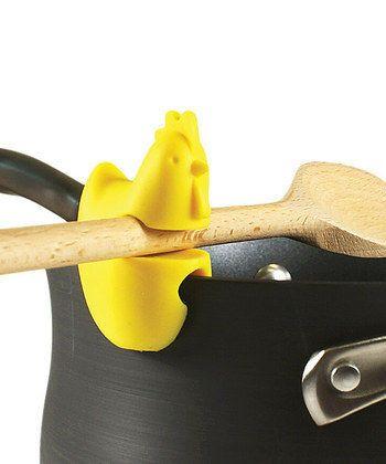 Spoon Utensil Ladle Spatula Holder Rest Fox Run Silicone Chicken Pot Pan Clip