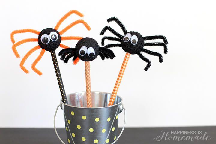Halloween Kids Craft Spider Pencils Halloween Creativity - how to make halloween decorations for kids