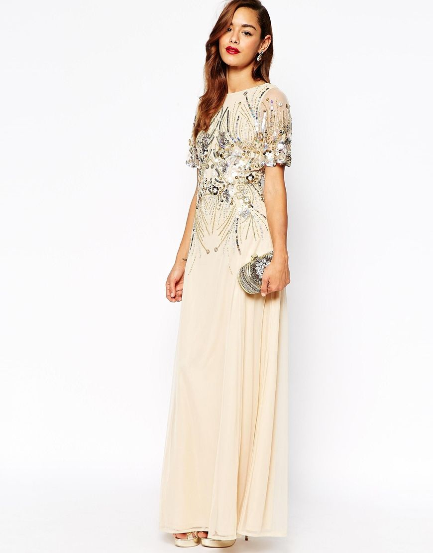 Image 4 Of Asos Red Carpet Sparkle Embellished Mesh Maxi