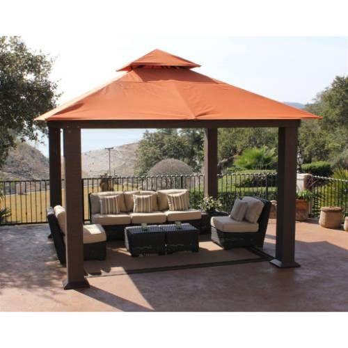 Stc Gz734 12 X 12 Seville Wicker Square Gazebo Backyard Canopy Canopy Outdoor Backyard Patio