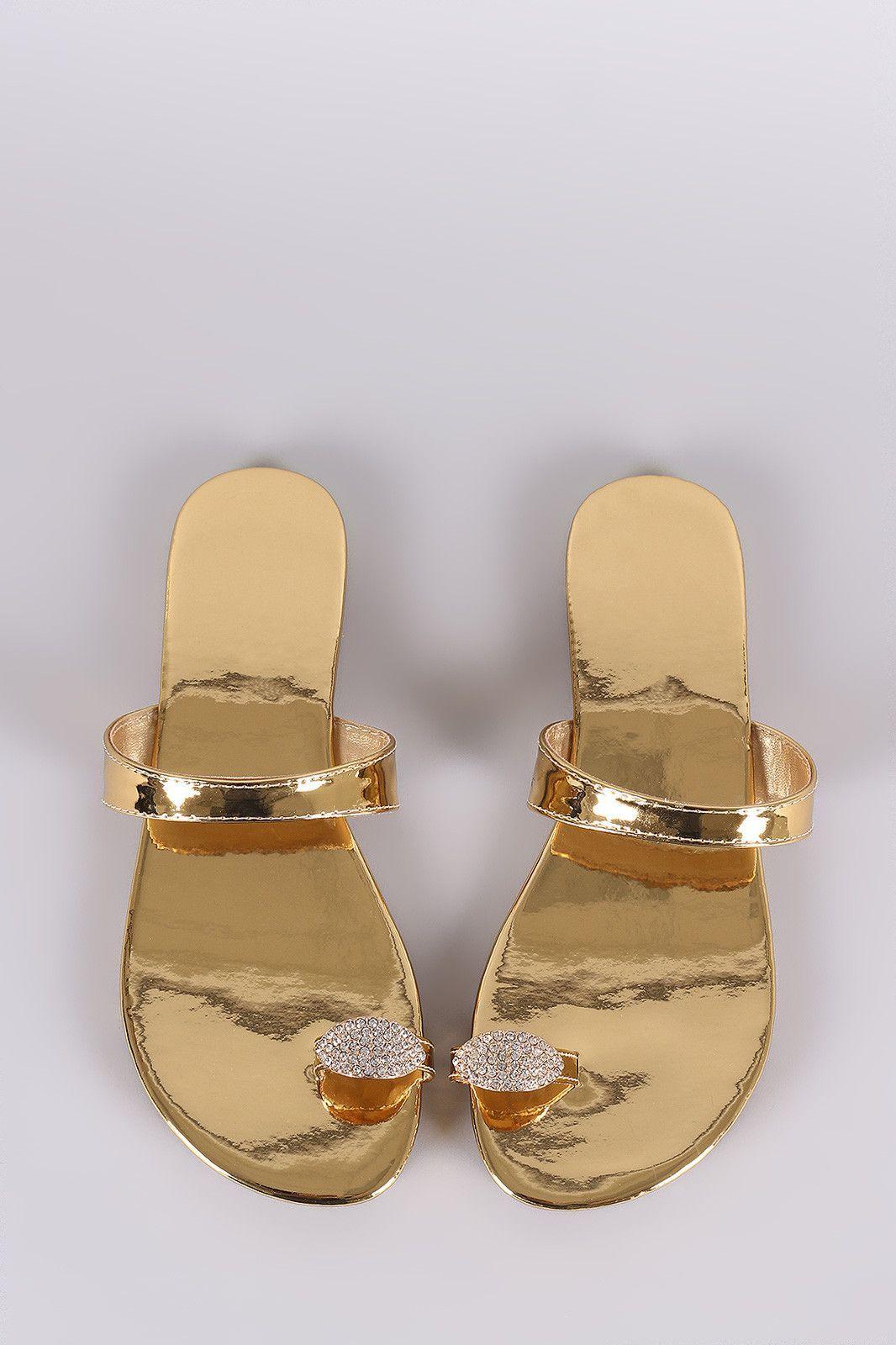 6615ac2cd35f Liliana Jewel Accent Toe Ring Slip On Patent Flat Sandal