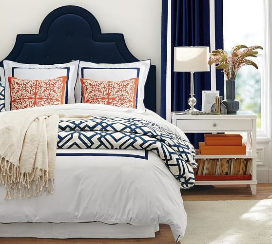 Pottery Barn Tufted Headboard With Nightstand, And Beautiful Pillow