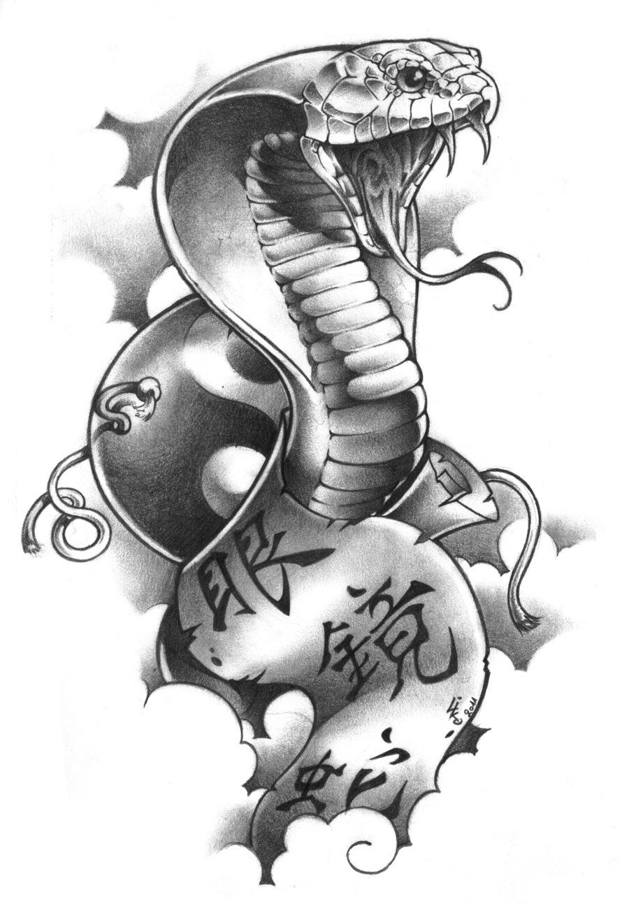 Scorpion king tattoo design - Black Outline Cobra Tattoo Design Photo 5