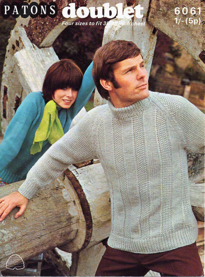 53ee1ba10385d9 vintage mens sweater knitting pattern PDF mens crew neck jumper moss stitch  stripes 38-45