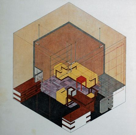 Isometric Drawing Of Walter Gropius S Study In The Weimar Bauhaus By Herbert Bayer C 1923 Courtesy Stiftung Bauhaus Dessau Wallpaper Com Inspo Tegninger