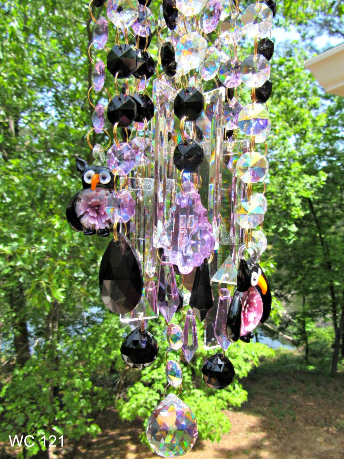 Crystal Owl Wind Chime Sun Catcher, House Warming Gift