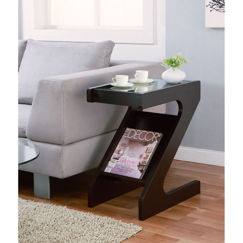 Furniture Of America Enzo Modern Black Tinted Tempered Glass Top Chairside End  Table With Magazine Rack | Overstock.com Shopping   Great Dea.