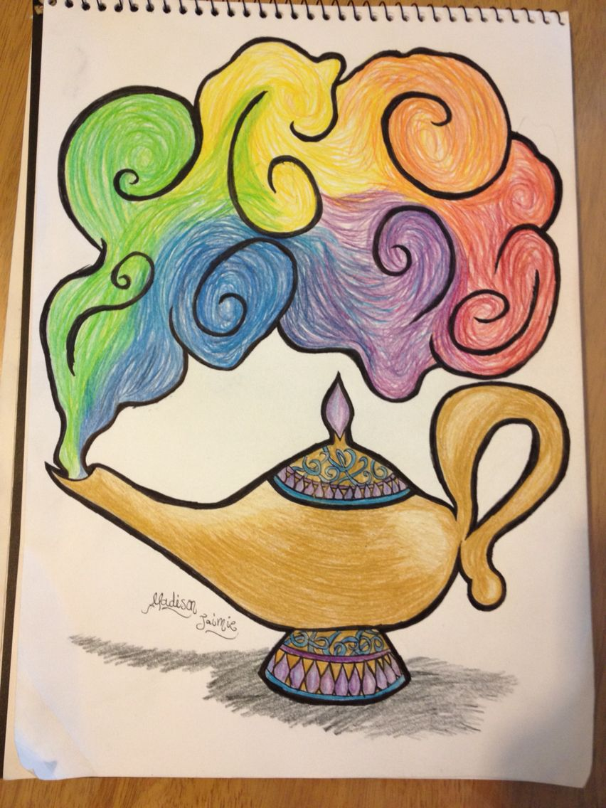 Original Drawing By Madison D Cruz Free Hand Drawing With Coloured Pencil Genie Lamp With Rainbow Co Free Hand Drawing Cute Disney Drawings Genie Lamp Tattoo