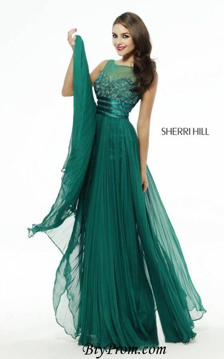 Sherri Hill 4809 Illusion 2016 Prom Long Emerald Evening Gown ...