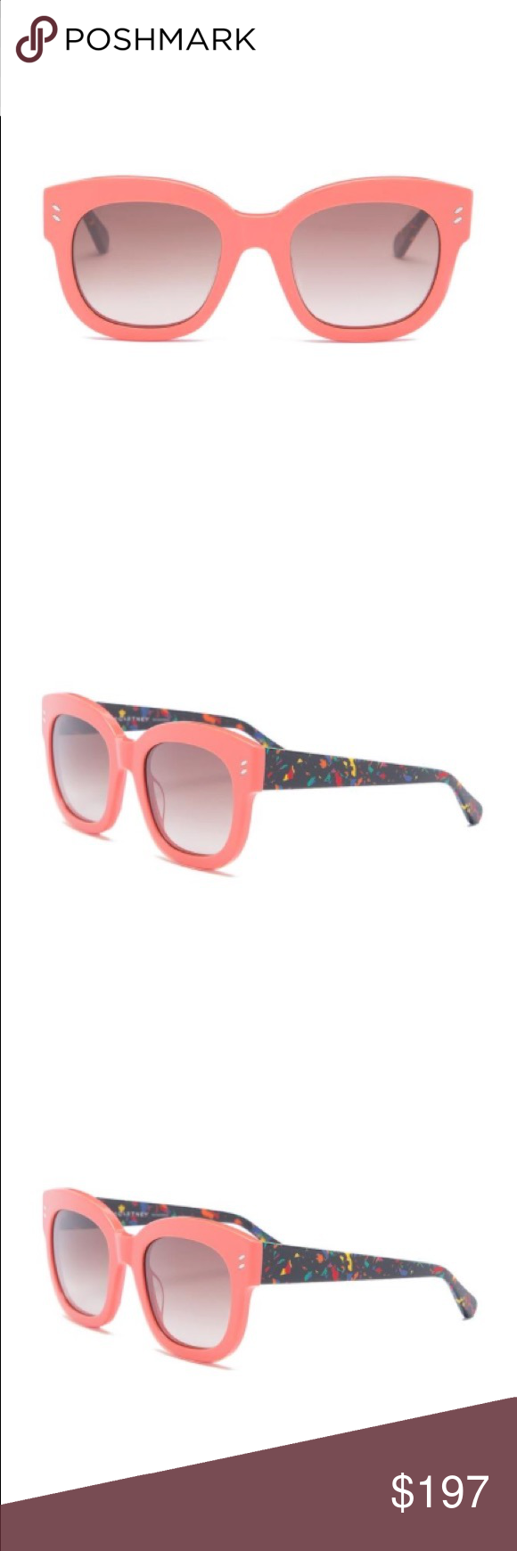 d6292c422f Stella McCartney Peach Cat Eye Square Sunglasses Details Stella McCartney s  cat-eye sunglasses are crafted