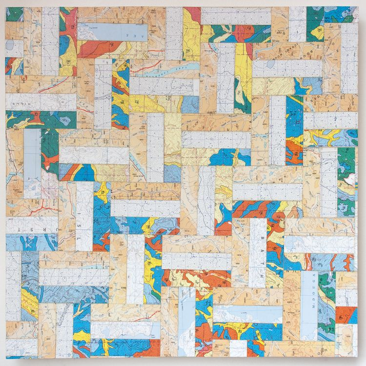 """20"""" X 20"""" X 1½"""" Rectangle Tesselation Map Collage on wood panel"""