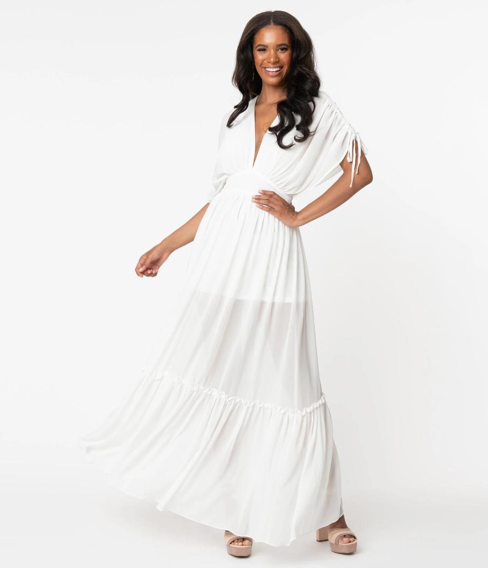 Retro Style Ivory Ruched Maxi Dress Unique Vintage White Maxi Dress Outfit Ruched Maxi Dress Ivory Maxi Dress [ 1164 x 1000 Pixel ]