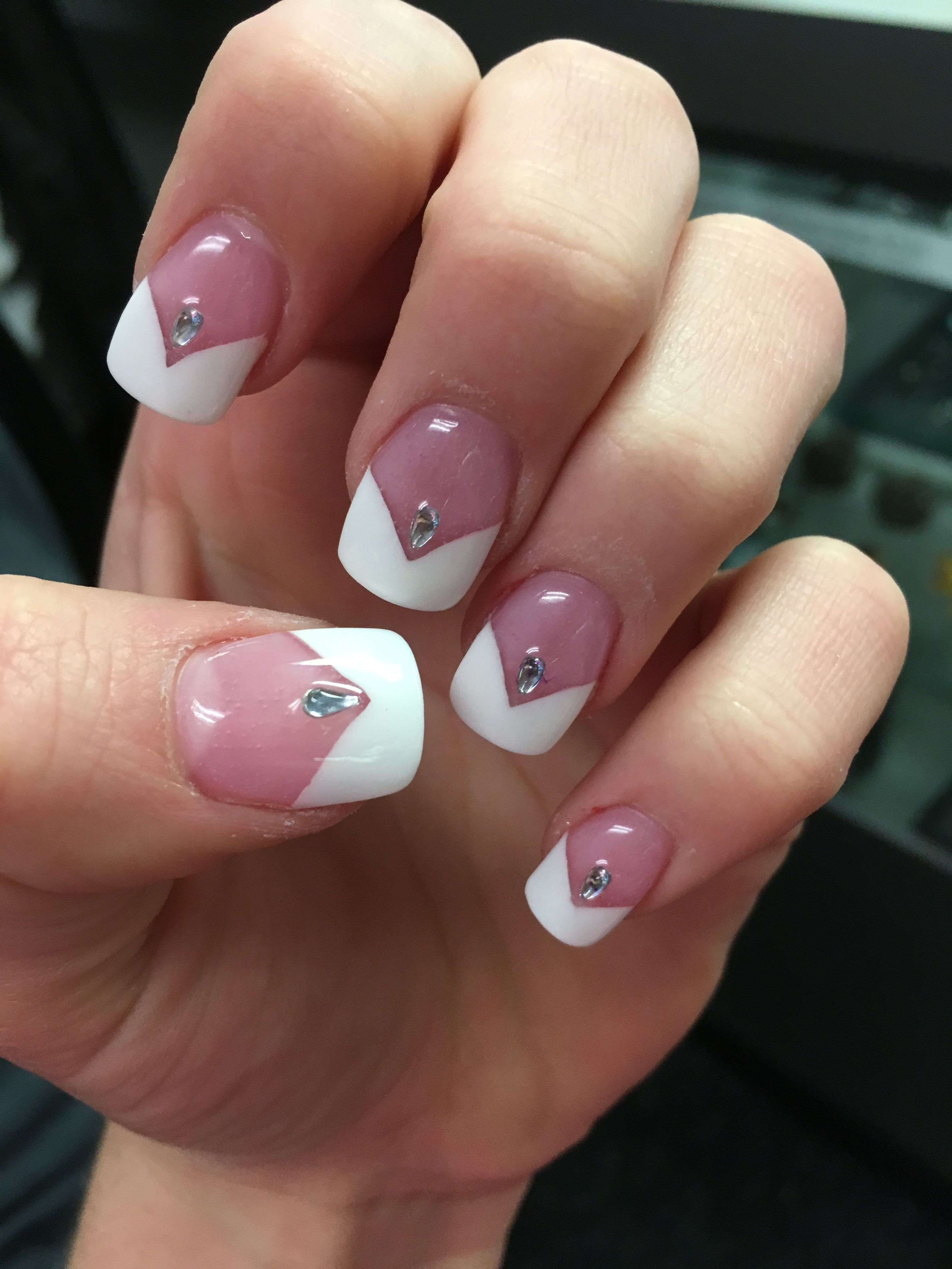 White V-French tip acrylic nails with rhinestones | Prom ...