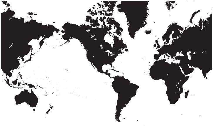World Single Color Blank Outline Map In Black Outlines And - World map black outline