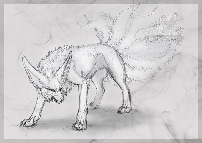 Kurama Kyubi Nine Tailed Fox By Arkyivolg Wolf Art Drawing