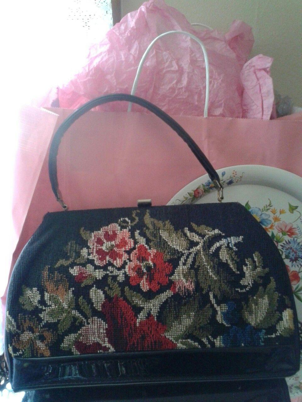 #vintagepurse #vintage #vintagehandbag #needlepointhandbag Needlepoint bag available for purchase at https://www.spreesy.com/SpringzzEternal