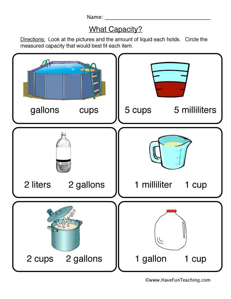 Capacity Worksheet 1 Capacity Worksheets Kindergarten Worksheets Kindergarten Worksheets Printable Capacity worksheets 4th grade