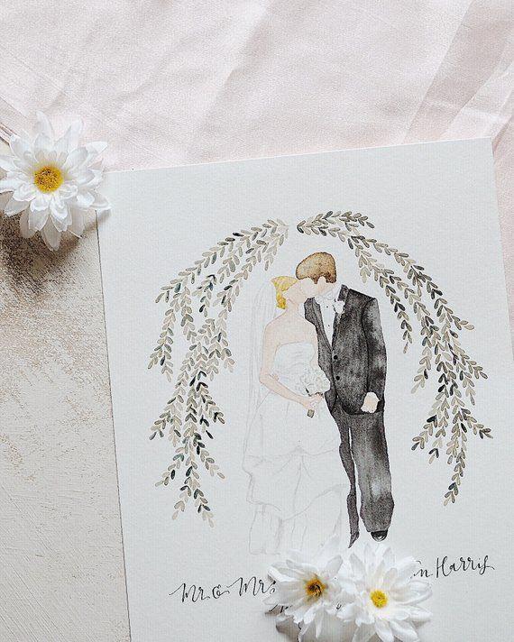 Custom Faceless Watercolor Wedding Portrait Bride And Groom