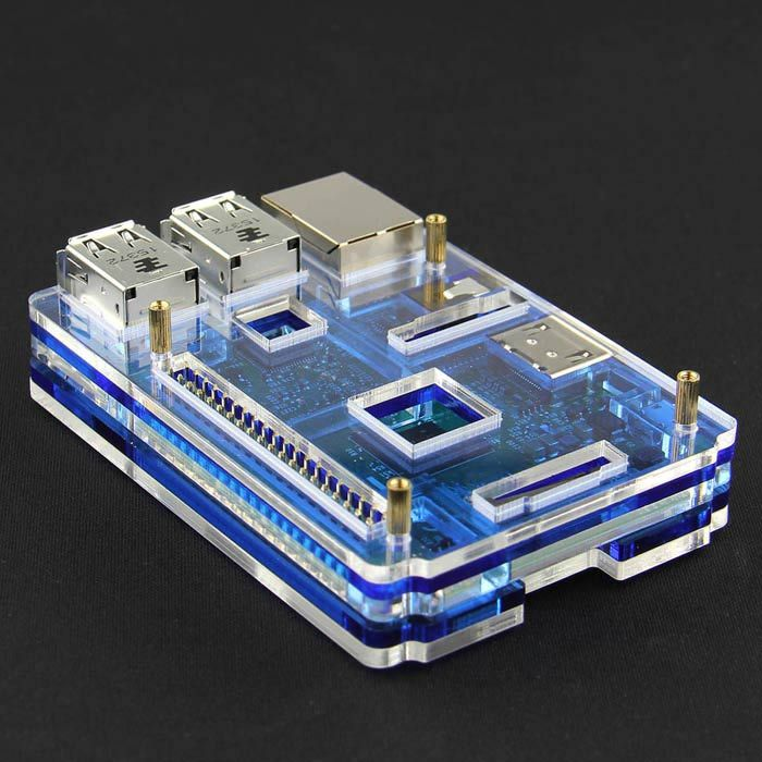 Acrylic Rainbow Case Box Shell for Raspberry PI 2 Model B - Transparent + Blue. . Tags: #Electrical #Tools #Ard