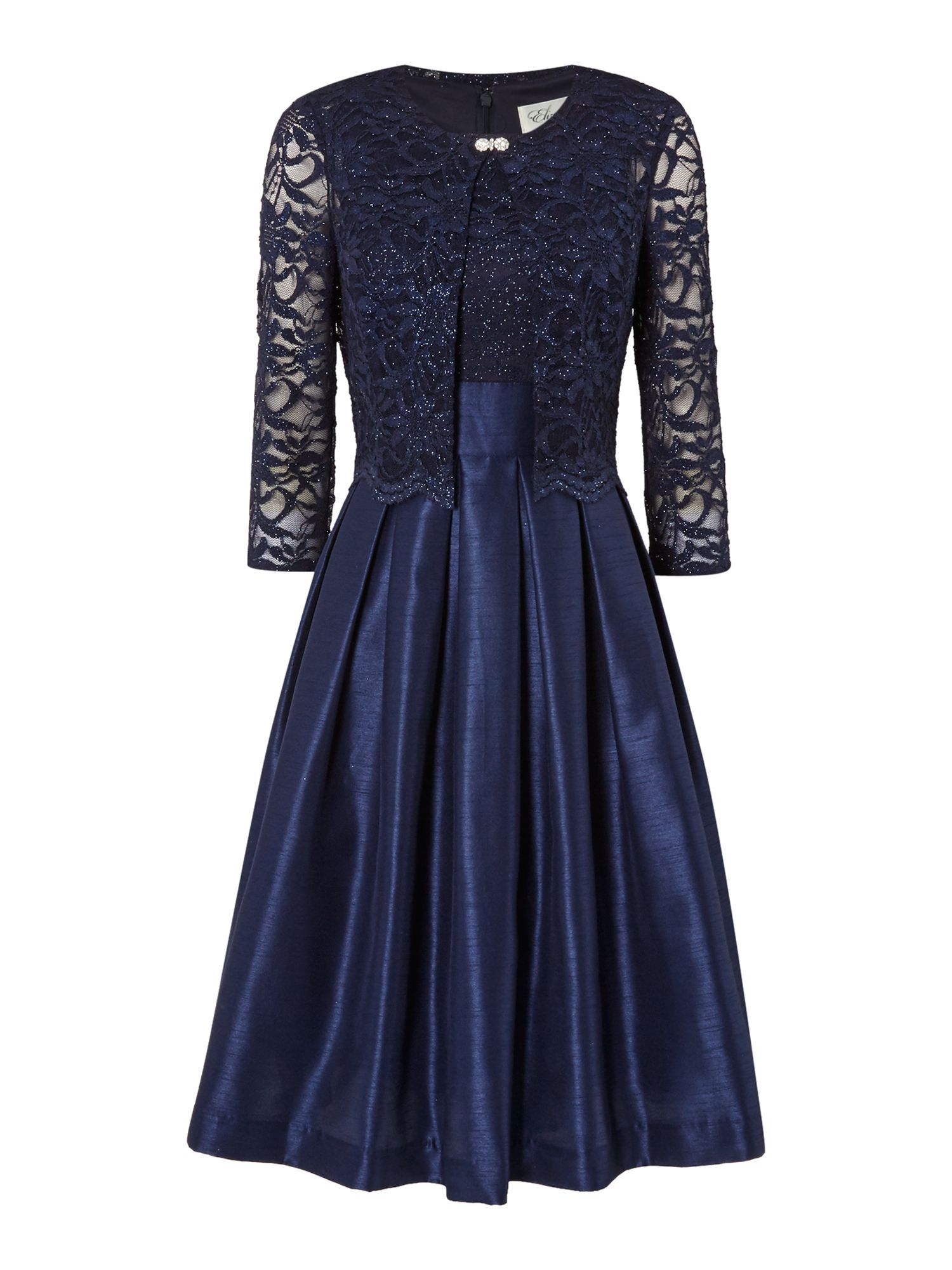 Eliza J Two piece with fit and flare skirt, Navy | Two Piece ...
