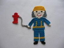Feuerwehrmann - Häkelapplikation