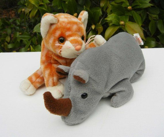 6a6f99448a8 Amber the Cat and Spike the Rhino Beanie Babies - No Hanging Tags ...