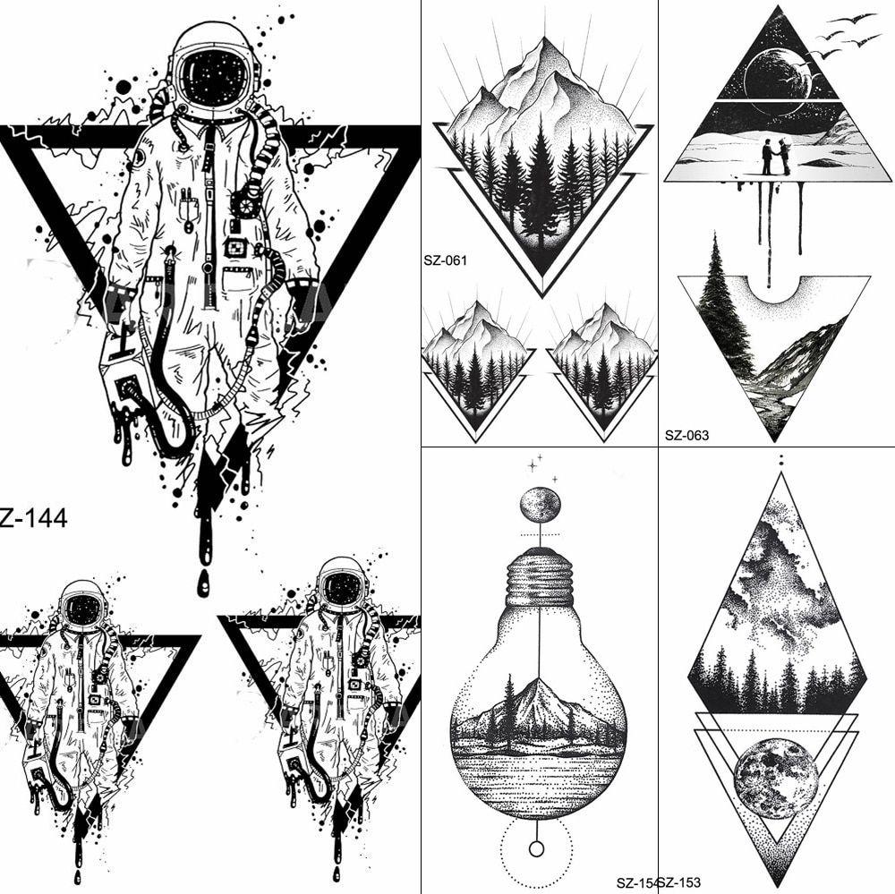 Photo of FANRUI Black Triangle Tattoos Temporary Women Geometric Arm Astronaut Art Tattoo Stickers Planet Water Transfer Tatto Space Man