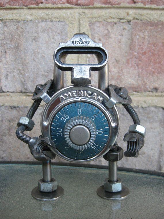 Ritchey The Lock Bot Recycled Metal Sculpture Etsy Scrap Metal Art Metal Art Welding Art