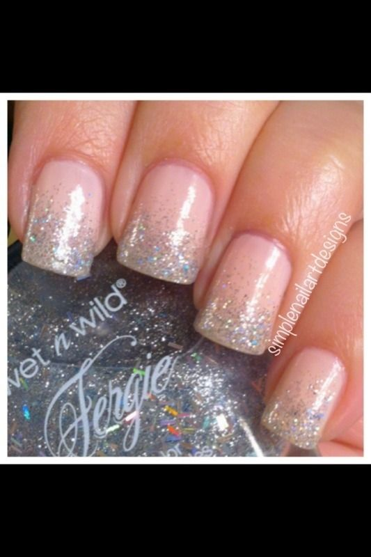 Glitter Grant Nails You Can Do This A Coat Of Clear Or Peachy