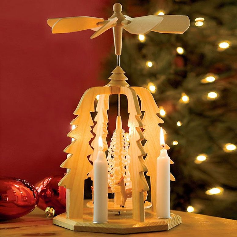 German Christmas Pyramid Wooden Candle Powered Carousel Fun