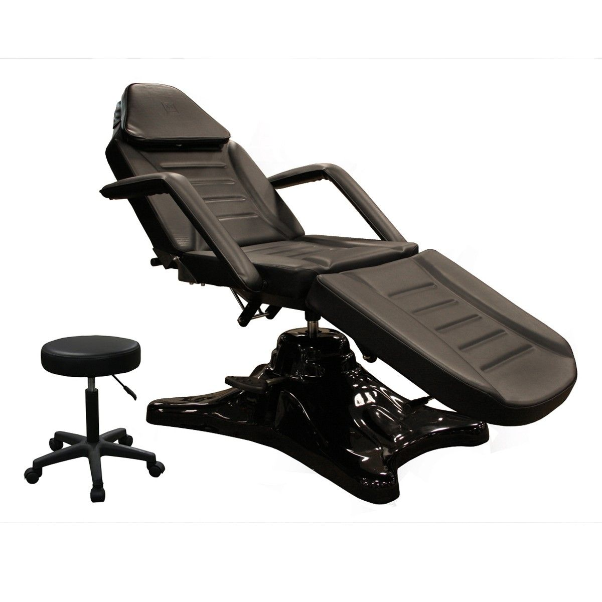 Our Hydraulic Facial Bed Features A 450lb Rated Base Completely Flat Recline Removable Armrests Face Hole Headres Black Bedding Skin Care Equipment Facial