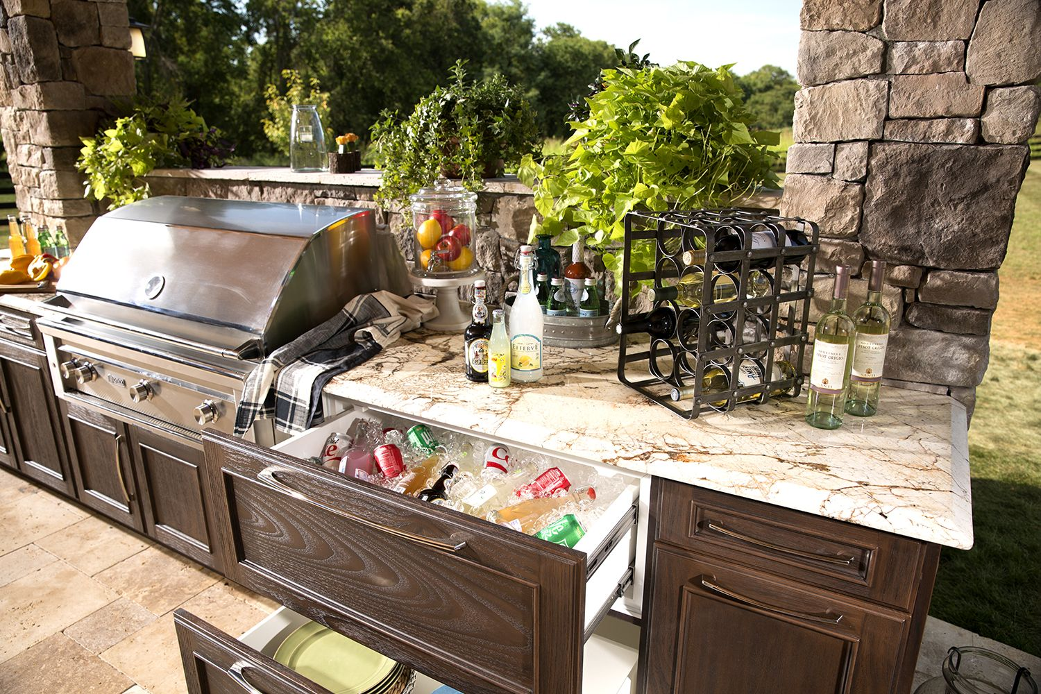 trex outdoor kitchens features customizable cabinets that provide