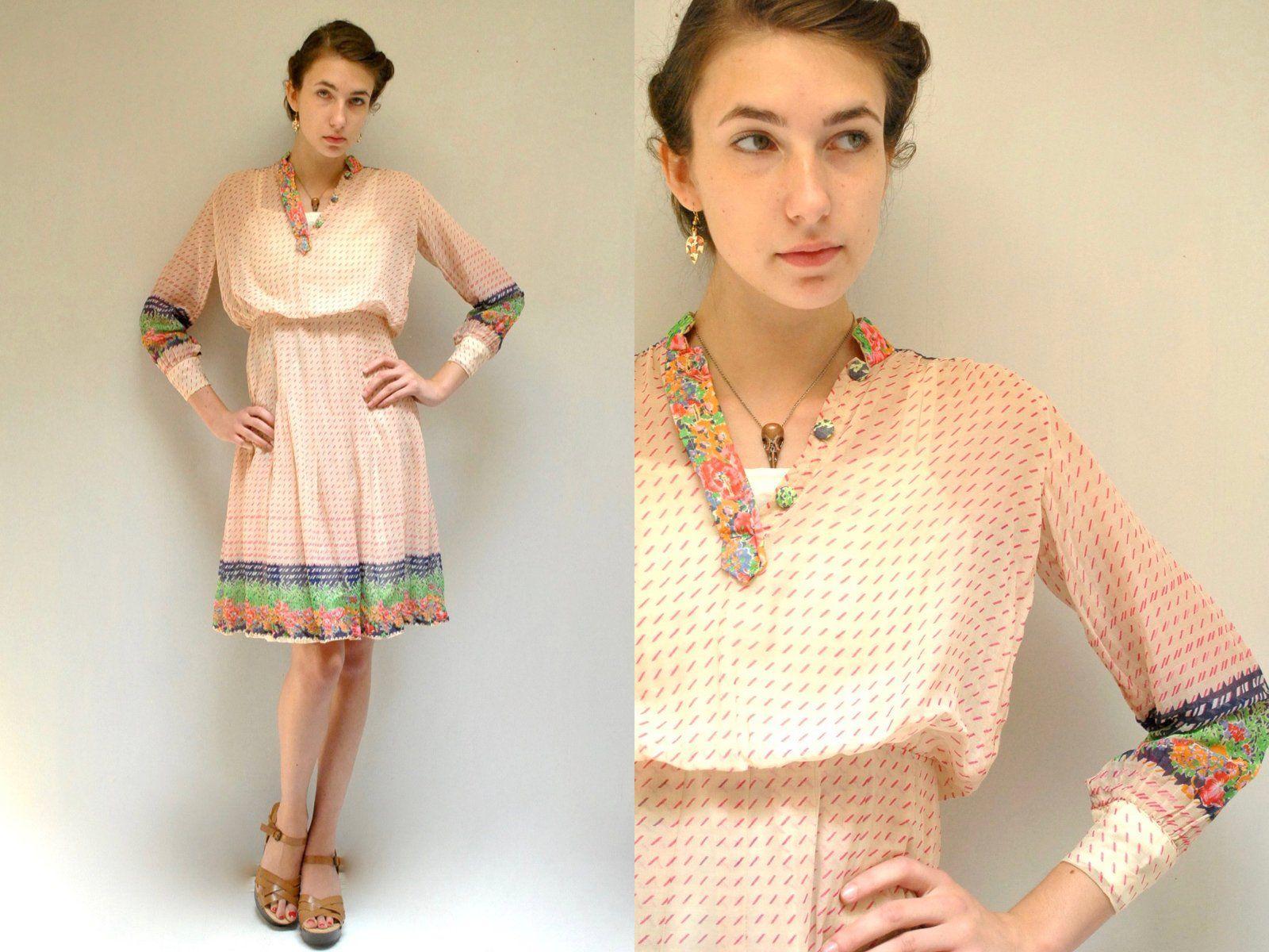 1e57206eb8 70s SHEER COTTON DRESS   1970s Vintage Midi Gauze Cotton Boho Long Sleeve  Rainbow Floral Summer Shirt Dress Womens HandMade Sheer Pleated
