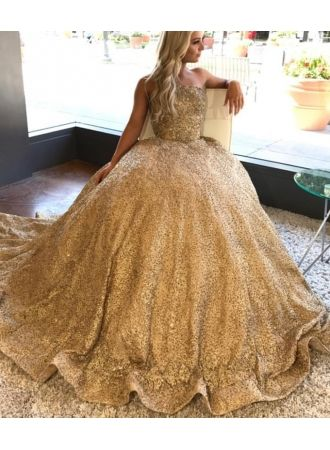goldene prinzessin brautkleider pailletten bodenlang brautmode hochzeitskleider günstig