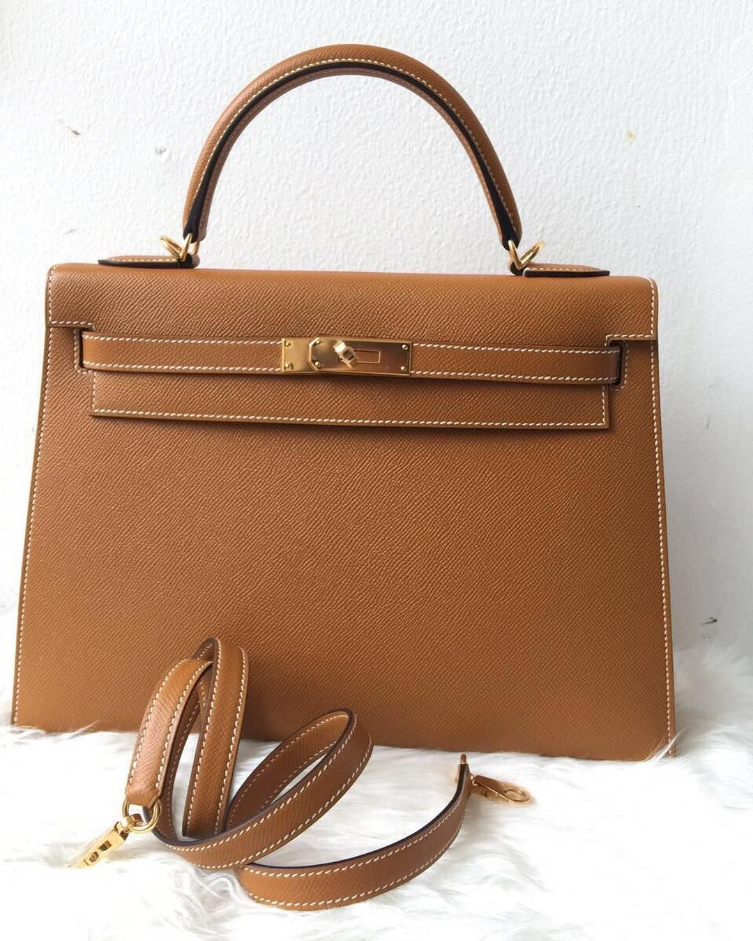3a93e5f08a0c5 Hermes Kelly 32 Toffee epsom sellier ghw
