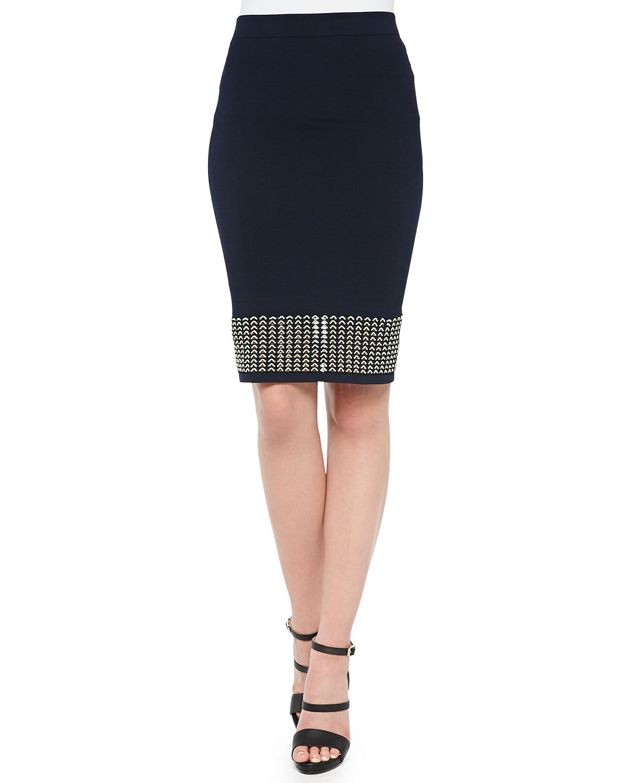 Eyelet Banded Pencil Skirt, Black, Women's, Size: L, Yellow - Jonathan Simkhai