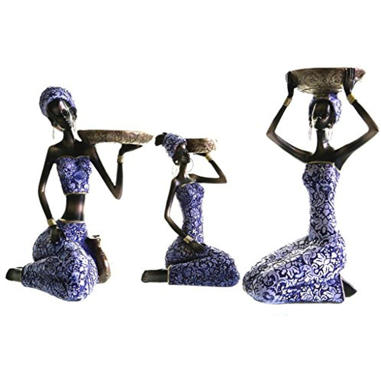 Chabaline 3 Piece Set African Women Figure Decor Art Statues Sculptures Candle Holder Human Decorative Home Black Figurines Women Figure Black Figurines Women