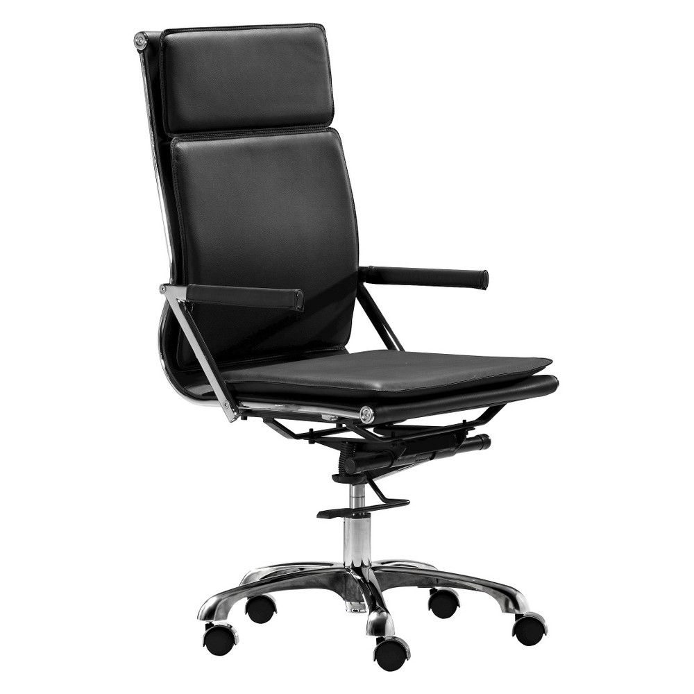 office chair upholstery. Ergonomic Upholstered High Back Adjustable Office Chair - Black ZM Home Upholstery