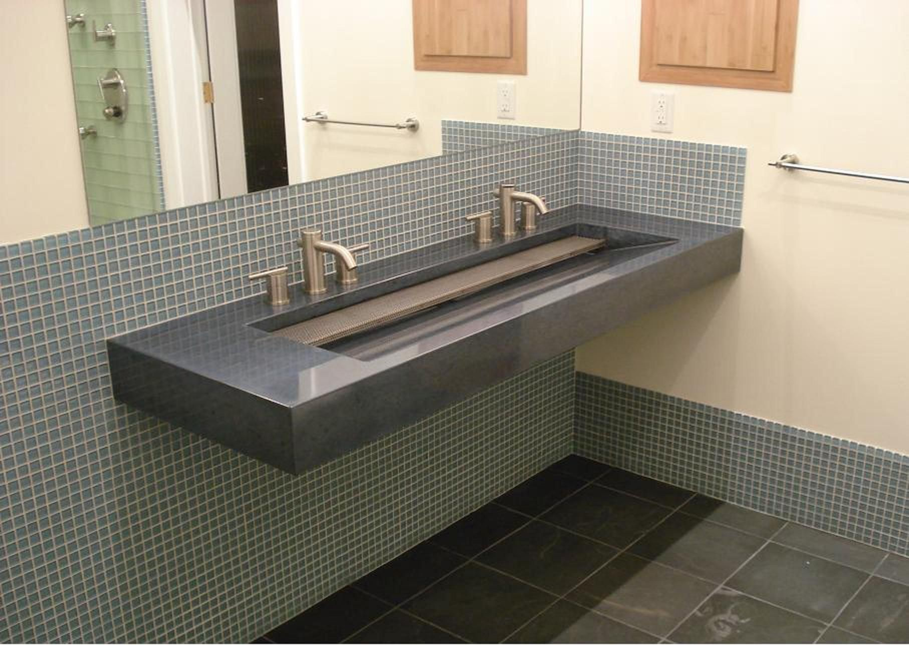Eye Catching Grey Marble Commercial Trough Sink With Double Stainless Steel Faucet And Large Bathroom