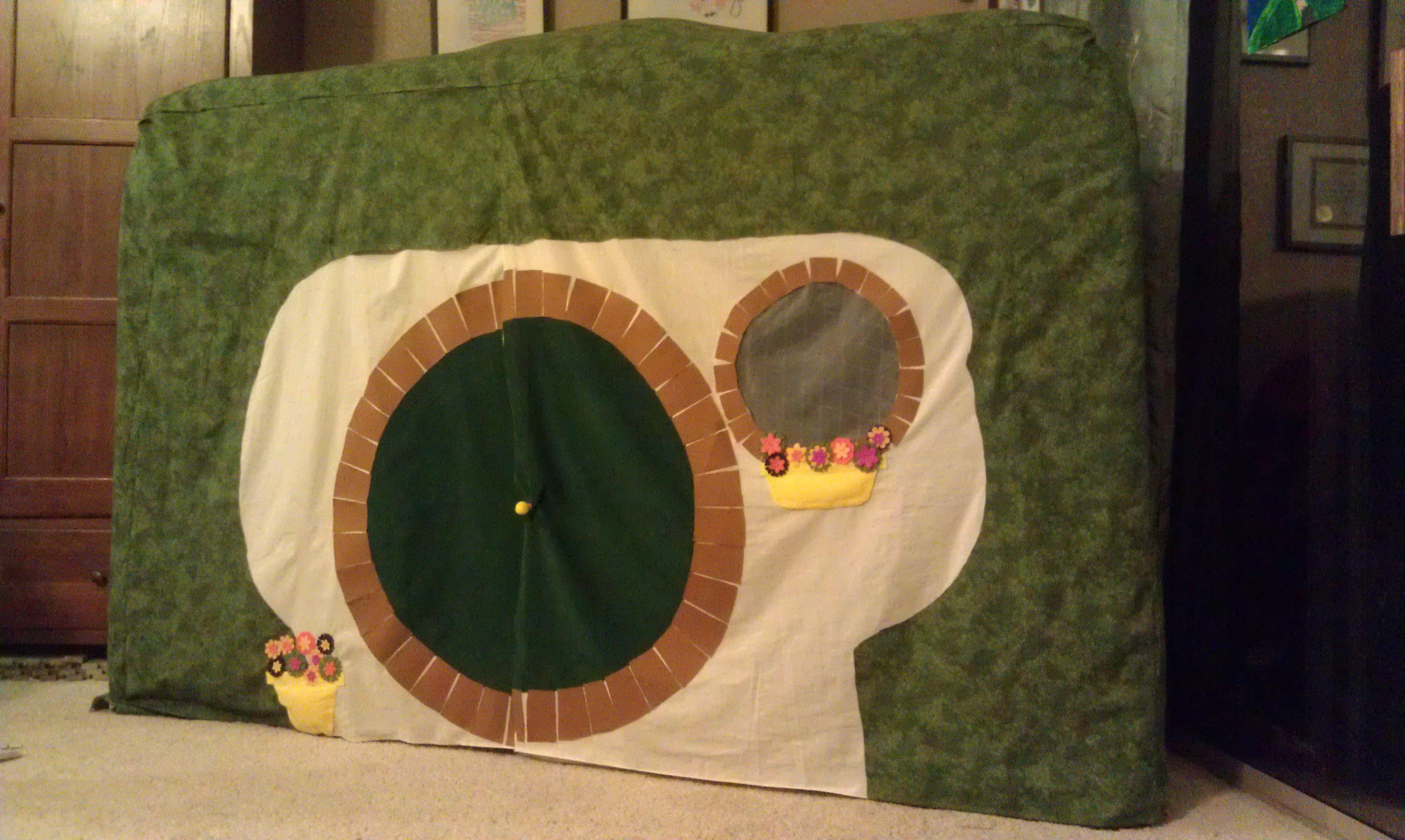 Hobbit Hole sewn to cover a hockey net