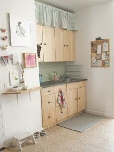 Hang A Curtain Above Kitchen Cabinets To Hide Storage Inside - Above kitchen cabinet storage ideas