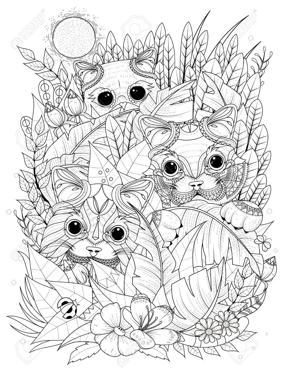 56914127-adult-coloring-page-wild-kitties-hiding-behind-plants-Stock ...