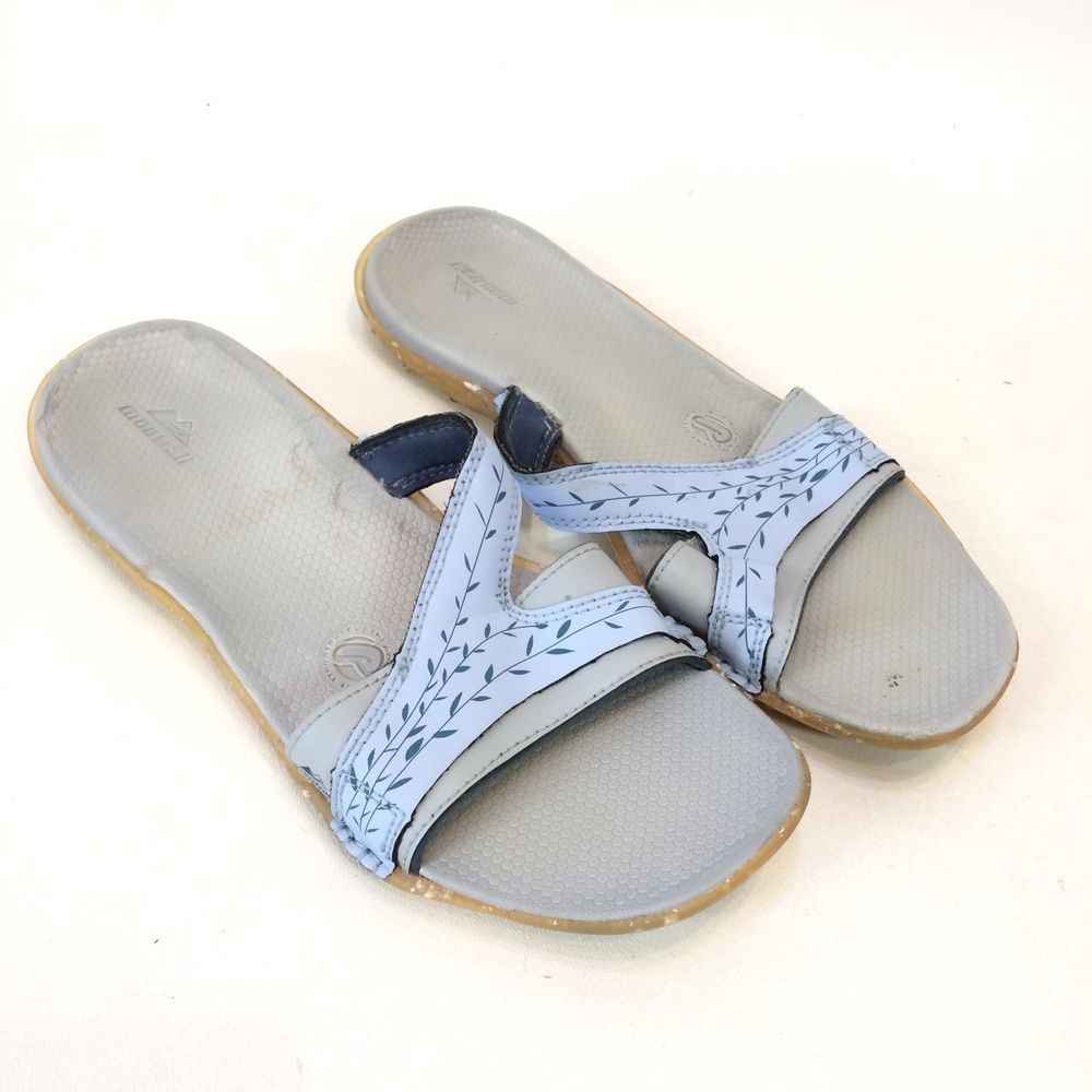 345601121209 Montrail Recyclonite Womens 7 Sandals Gray Blue Flip Flop Slides  Montrail   Slides