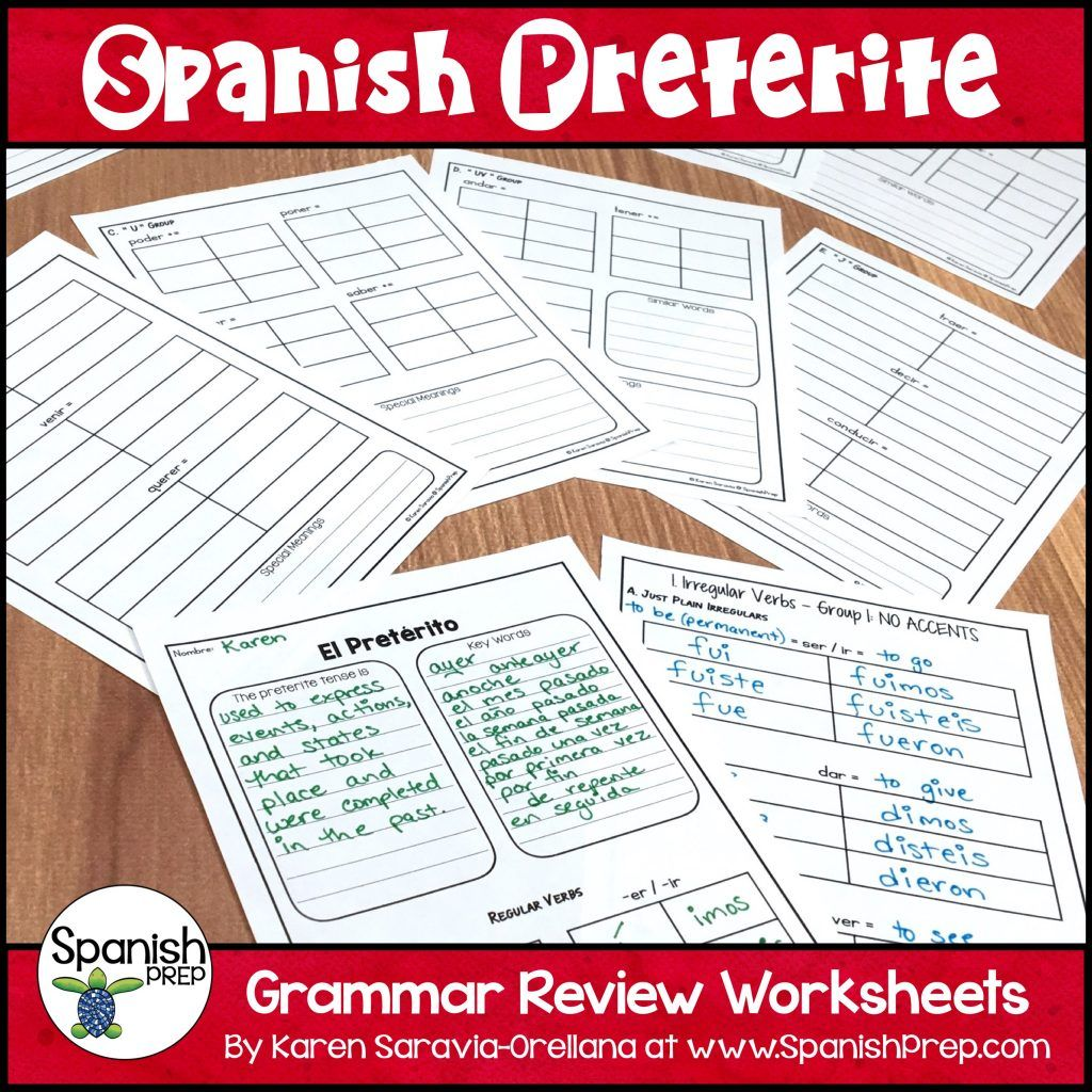 Spanish Preterite Worksheets With Answer Key These 11