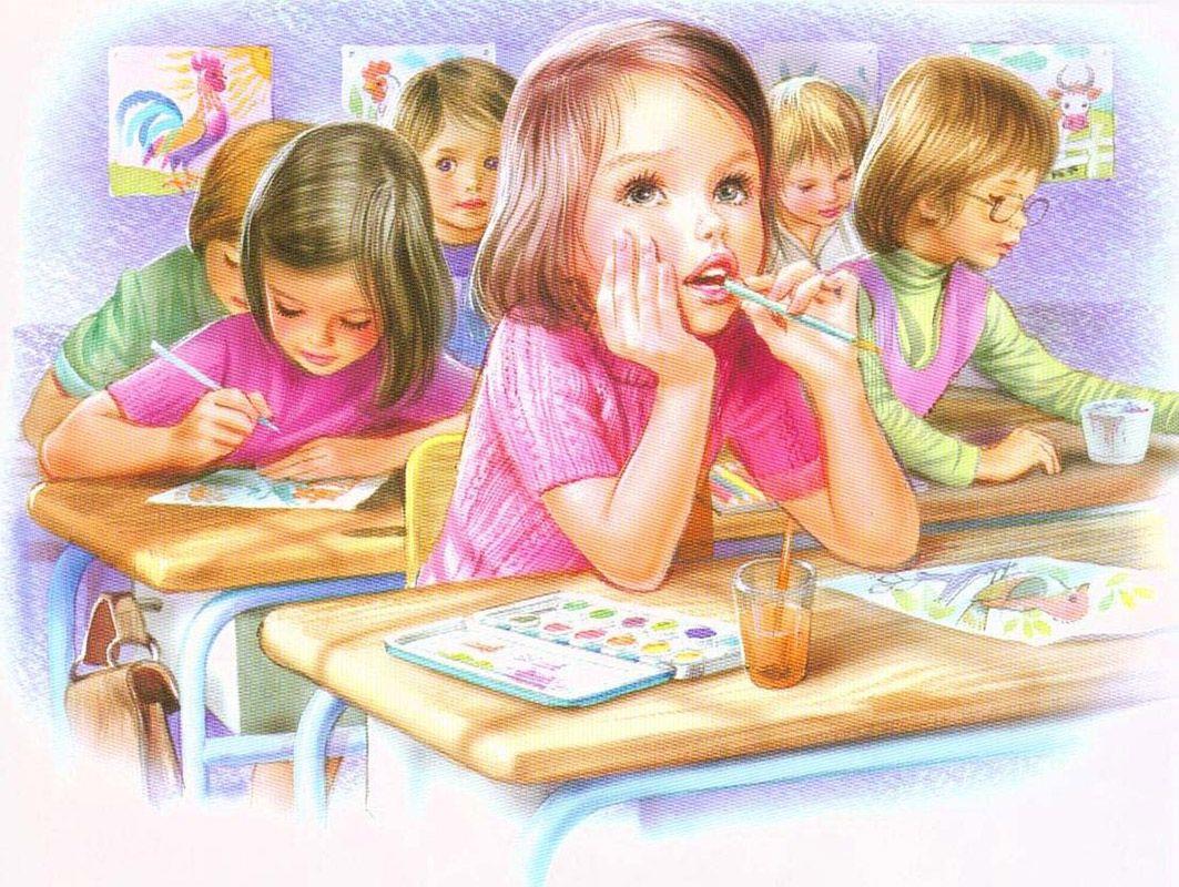 Картинка рисованная дети рисуют