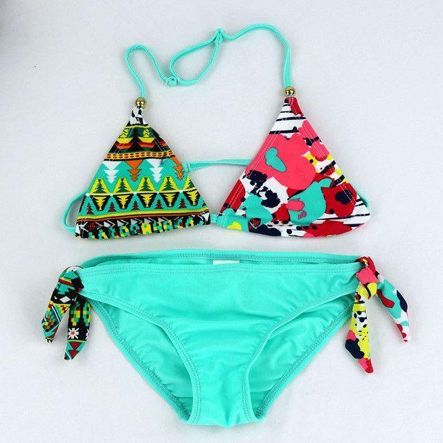 0b2d93f415 Teenage Girls Swimwear Baby Kids Cute Bikini Girls split Two Pieces  swimsuit Bathing suit Beachwear kids biquini